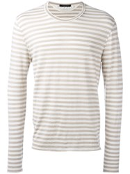 Roberto Collina Long Sleeve Striped T Shirt Nude Neutrals
