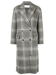 Le Ciel Bleu Checked Double Breasted Coat Grey