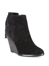 Frye Cece Tassel Lace Suede Wedge Booties Black