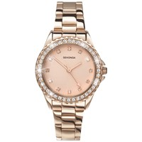 Sekonda 4253.27 Women's Temptation Crystal Bezel Bracelet Strap Watch Rose Gold