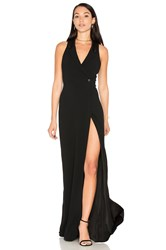 Haute Hippie Tux Wrap Gown Black