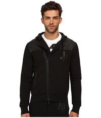 Armani Jeans Poly Cotton Fleece Perforated Eco Leather Zip Track Top Black