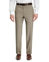 Brioni Mohair Look Wool Flat Front Trousers Taupe
