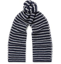 The Workers Club Striped Merino Wool Scarf Navy