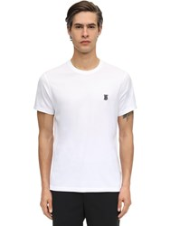 Burberry Embroideredcotton Jersey T Shirt White