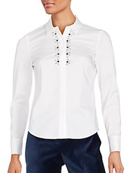 Laundry By Shelli Segal Long Sleeve Embellished Shirt Optic White