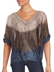 Saks Fifth Avenue Embellished Tie Dye Blouse Taupe