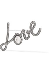 Lanvin Iconic Pewter Plated Crystal Brooch Silver