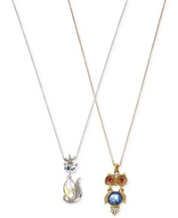 Betsey Johnson Two Tone Crystal And Stone Fox And Owl Necklace Set No Color