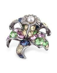 A Z Collection Multicolor Flower Brooch