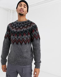 Topman Fluffy Jumper With Chest Pattern In Grey