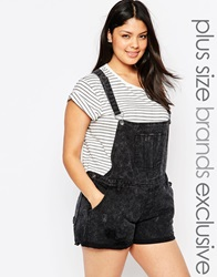 Alice And You Printed Black Washed Dungaree Short