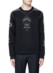 Valentino Tribal Embellished Neoprene Sweatshirt Black