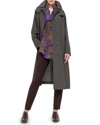 Akris Hooded Taffeta Long Trenchcoat