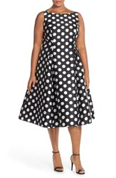 Plus Size Women's Adrianna Papell Sleeveless Mikado Fit And Flare Polka Dot Midi Dress