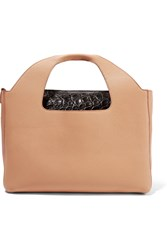 The Row Two For One 12 Glossed Crocodile Trimmed Textured Leather Tote Tan