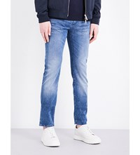 Hugo Boss Slim Fit Tapered Cotton Blend Jeans Bright Blue