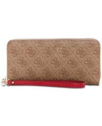 Guess Vikky Signature Large Zip Around Wallet Brown Gold