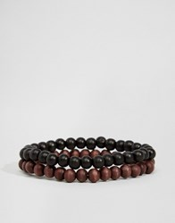 Jack And Jones Jack And Jones Beaded Bracelet Pack Black Brown Multi