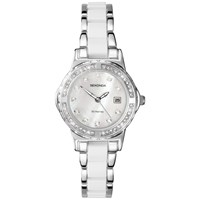 Sekonda 4674.27 Women's Diamante Pearlescent Bracelet Strap Watch Silver White