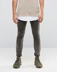 Asos Super Skinny 5 Pocket Trousers In Khaki Extreme Acid Wash Brown