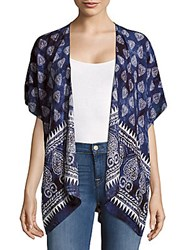 Lulla Collection By Bindya Kimono Sleeve Open Front Cape Blue Multi