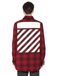 Off White Stripes Printed Wool Blend Flannel Shirt