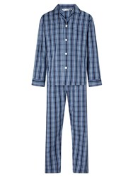 Derek Rose Check Woven Cotton Pyjamas Navy