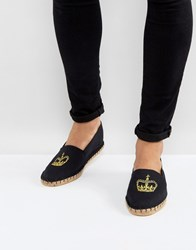 Asos Canvas Espadrilles In Black With Crown Embroidery Black