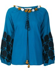 Figue 'Coco' Peasant Blouse Blue