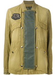 Mr And Mrs Italy Embellished Panel Bomber Jacket Green