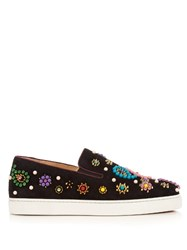 Christian Louboutin Boat Candy Embellished Suede Trainers Black Multi