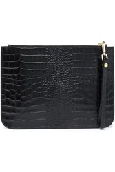 Iris And Ink Ned Croc Effect Leather Clutch Black