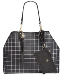 Tommy Hilfiger Reversible Double Sided Tassel Tote Black White