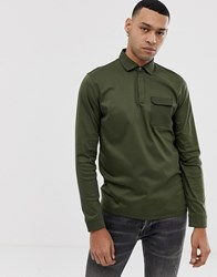 Ted Baker Polo In Mercified Cotton With Pocket In Khaki Green