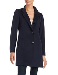 Cinzia Rocca Wool Walking Coat Navy Blue