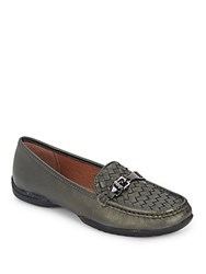 Donald J Pliner Vutra Woven Leather Flats Pewter