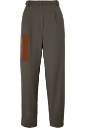 Tibi Tablier Faux Leather Trimmed Woven Pants Dark Gray