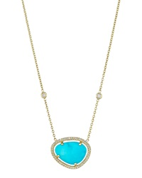 18K Turquoise And Diamond Pendant Necklace 16' Penny Preville