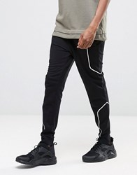 Asos Skinny Joggers With White Piping In Black Black