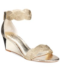 Adrianna Papell Adelaide Ankle Strap Wedge Evening Sandals Women's Shoes Platino