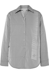 Alexander Wang T By Quilted Printed Padded Shell Jacket Silver