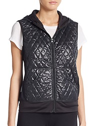 Saks Fifth Avenue Blue Hooded Quilted Vest Black