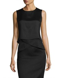 Brandon Maxwell Cropped Satin Tank Black
