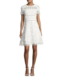 Elie Tahari Adina Short Sleeve Floral Applique And Lace Dress White