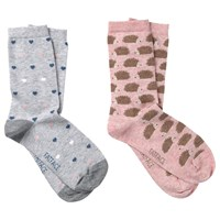 Fat Face Heart And Hedgehog Print Ankle Socks Pack Of 2 Salmon Grey
