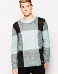 Cheap Monday Crew Knit Jumper Moe Large Mist Check Greenmistcheck