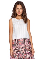 Sam Edelman Embroidered Organza Top White
