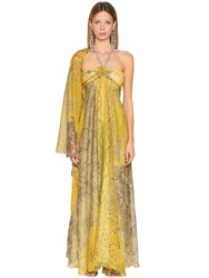 Etro Printed Silk Georgette Dress Yellow Gold