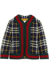 Gucci Cropped Plaid Wool Jacket Emerald
